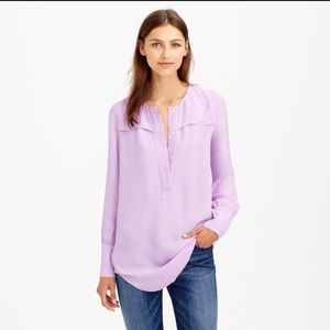 J Crew black covered button crepe blouse